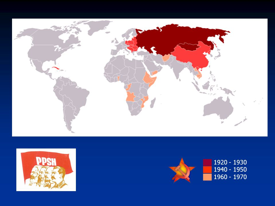 ██ 1920 - 1930 ██ 1940 - 1950 ██ 1960 - 1970