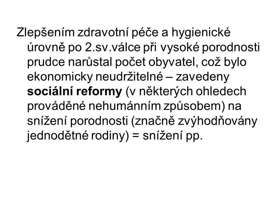 Zlepšením zdravotní péče a hygienické úrovně po 2. sv