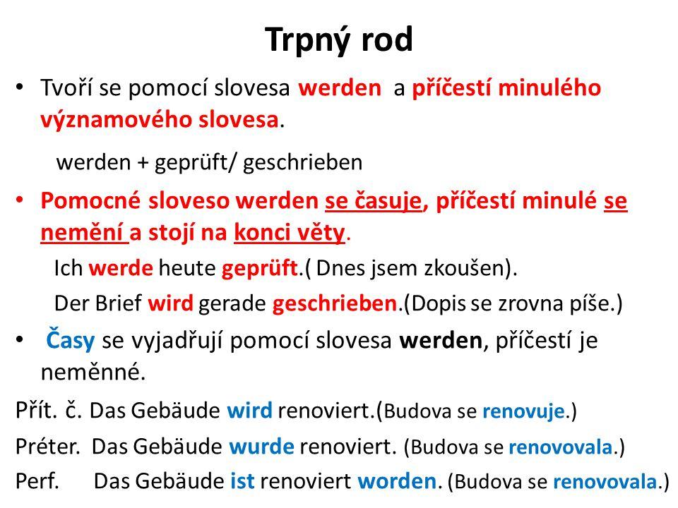 Trpný rod werden + geprüft/ geschrieben