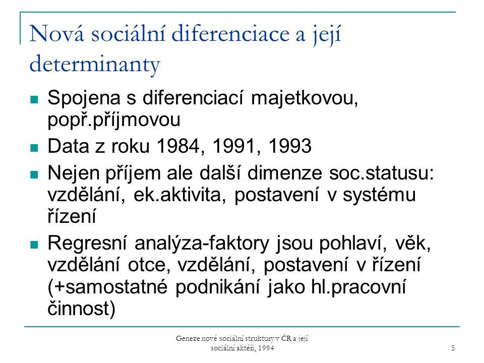Nová sociální diferenciace a její determinanty