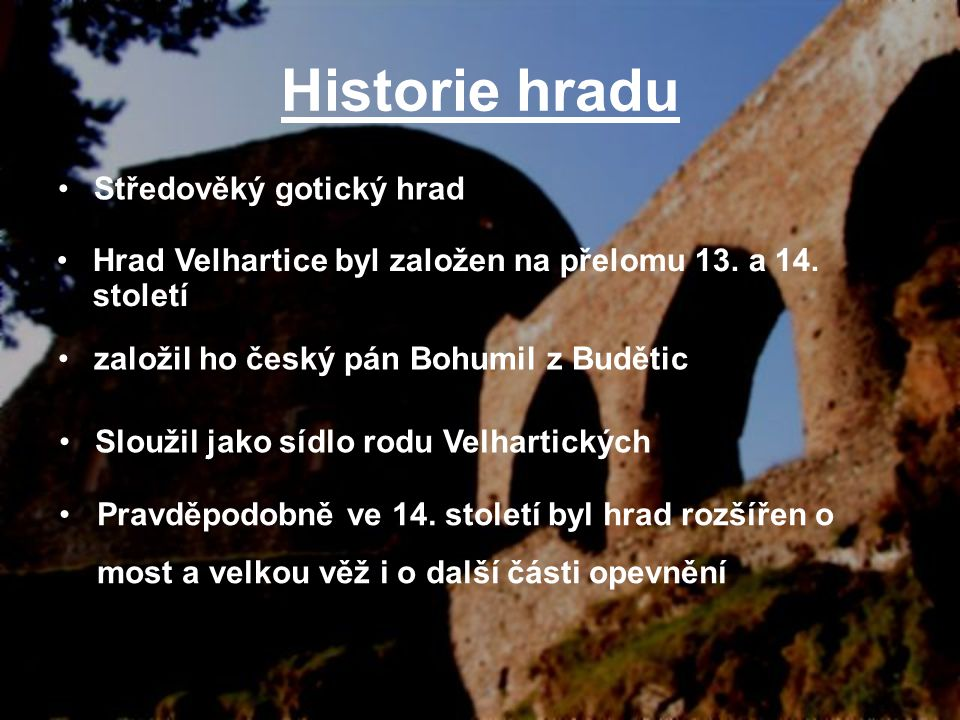 Historie hradu Středověký gotický hrad
