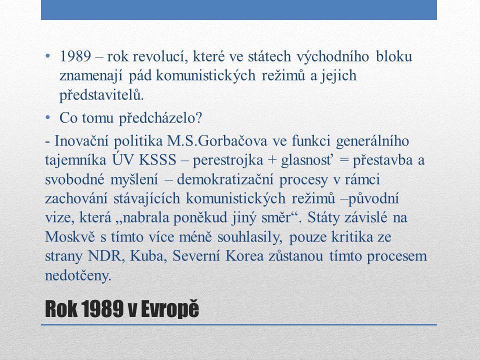 1989 – rok revolucí, které ve státech východního bloku znamenají pád komunistických režimů a jejich představitelů.