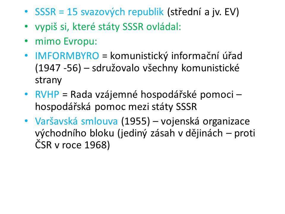 SSSR = 15 svazových republik (střední a jv. EV)