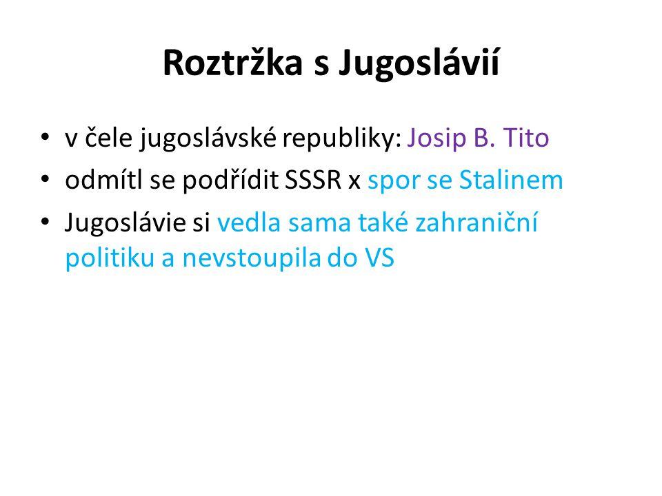 Roztržka s Jugoslávií v čele jugoslávské republiky: Josip B. Tito