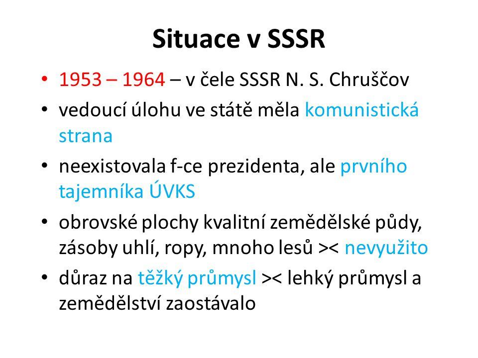 Situace v SSSR 1953 – 1964 – v čele SSSR N. S. Chruščov