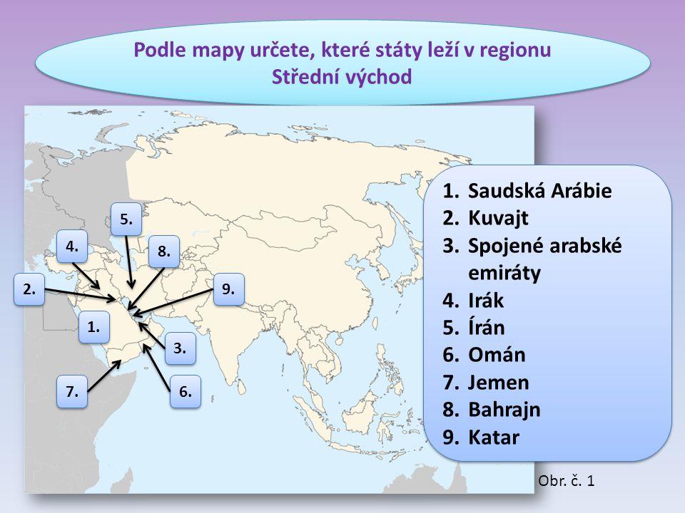 Podle mapy určete, které státy leží v regionu Střední východ