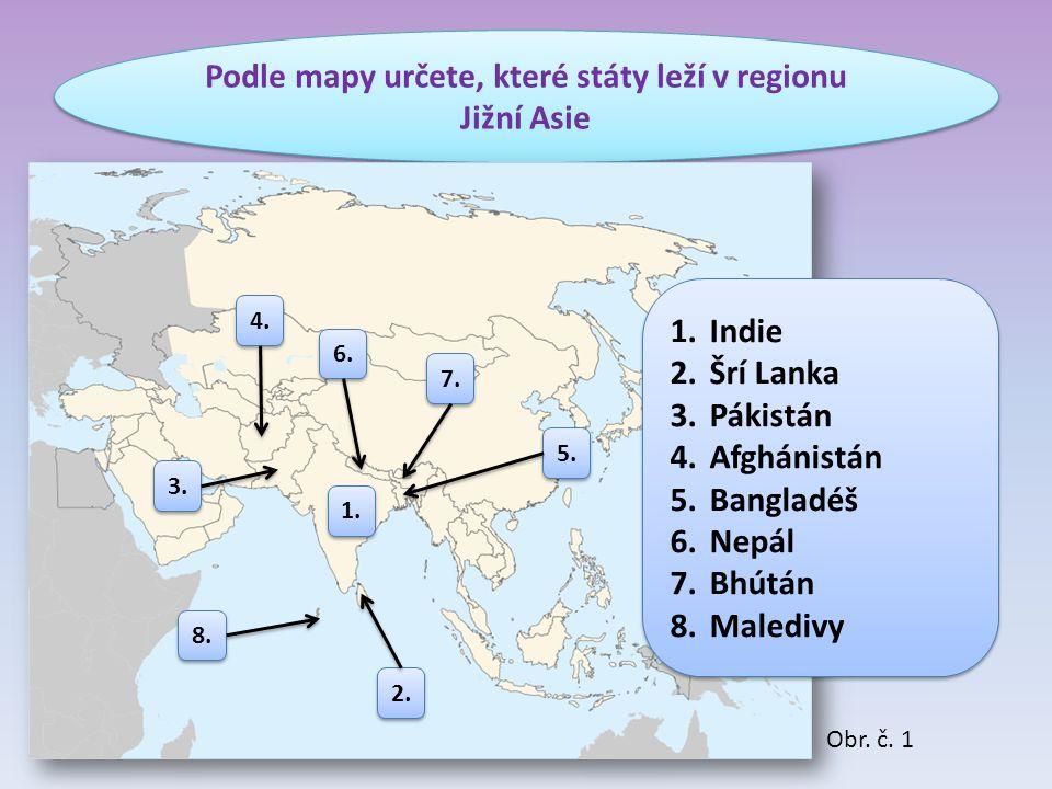Podle mapy určete, které státy leží v regionu Jižní Asie