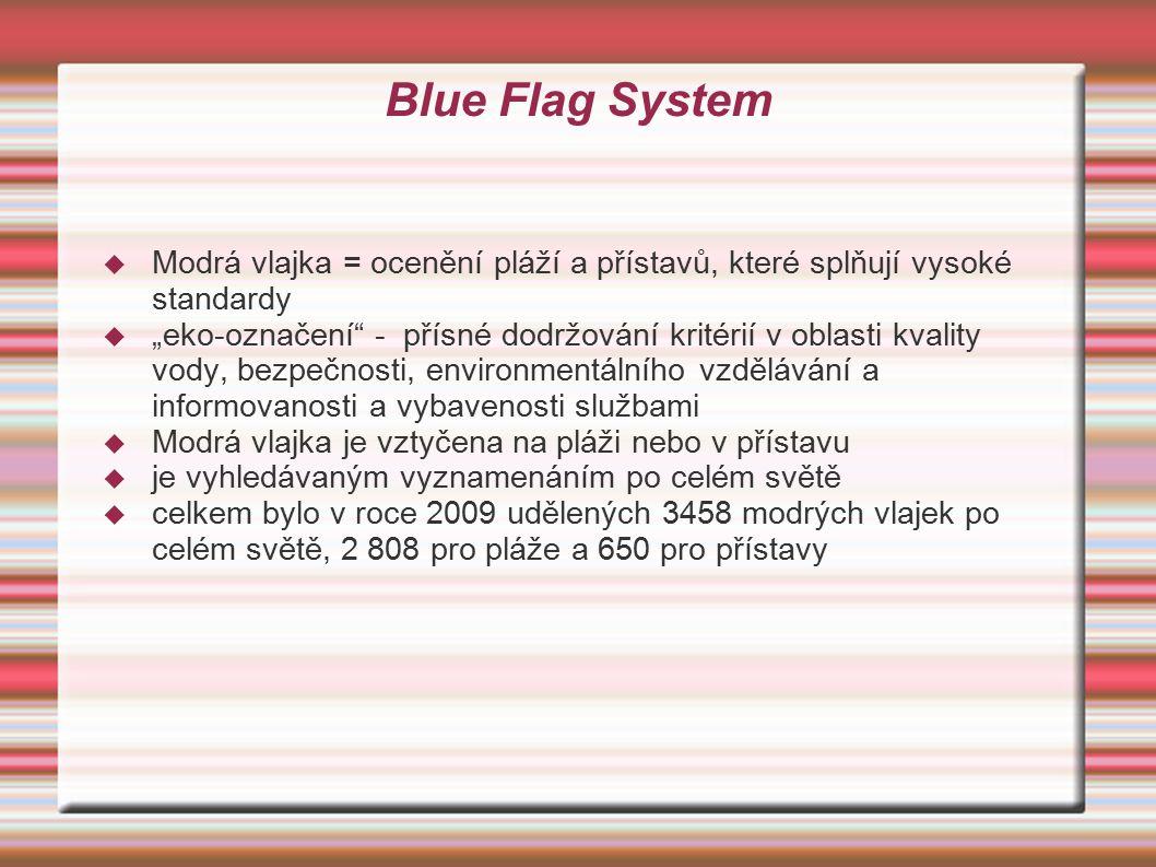 Blue Flag System Modrá vlajka = ocenění pláží a přístavů, které splňují vysoké standardy.