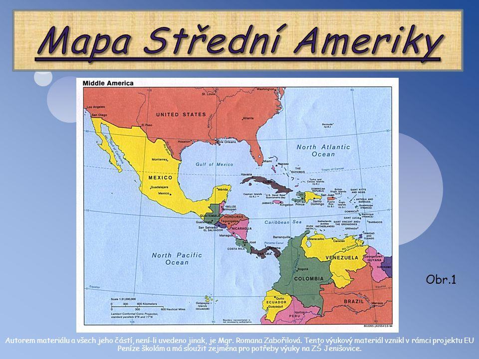 Mapa Střední Ameriky Obr.1