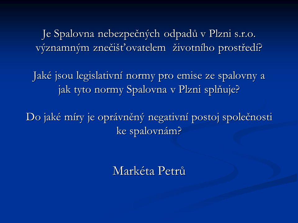 Je Spalovna nebezpečných odpadů v Plzni s. r. o