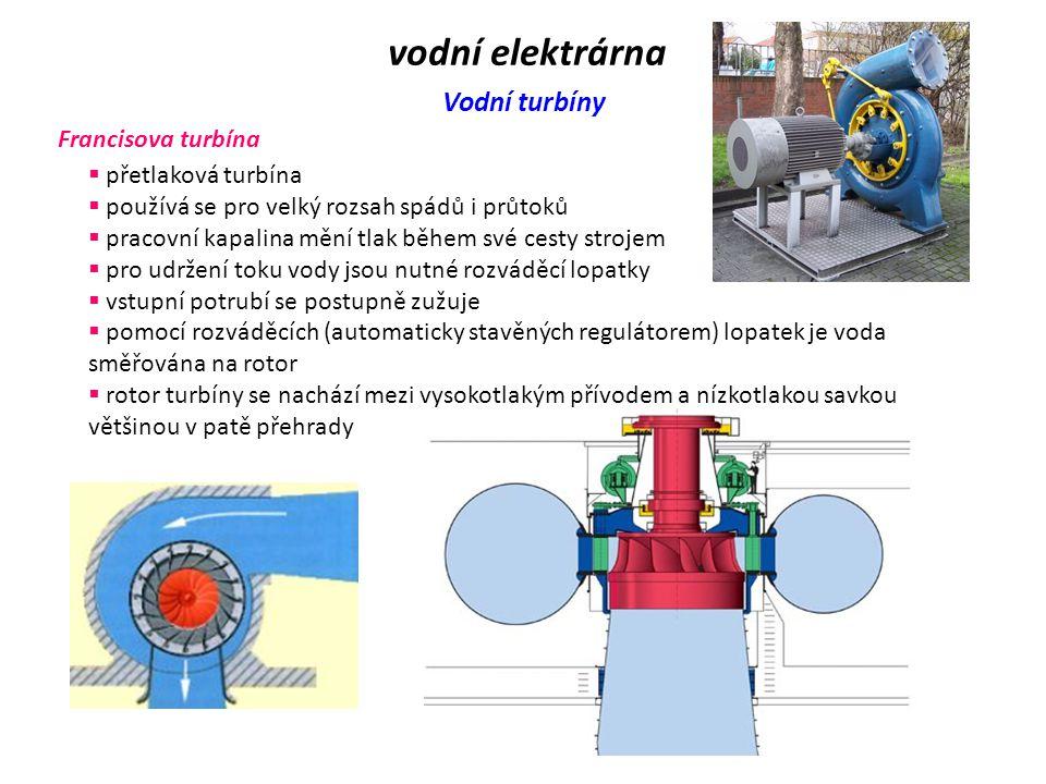 vodní elektrárna Vodní turbíny Francisova turbína přetlaková turbína