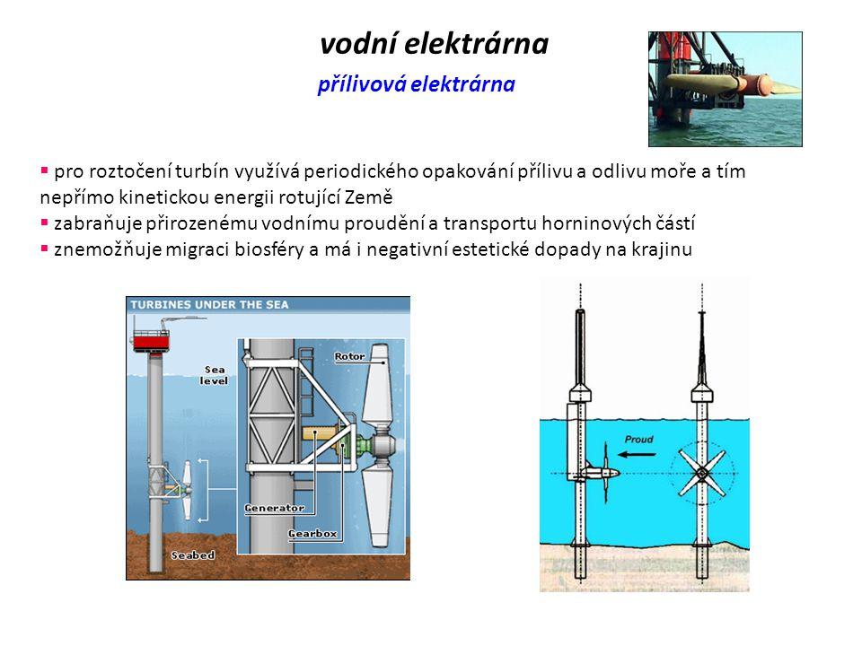vodní elektrárna přílivová elektrárna