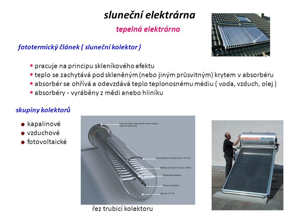 sluneční elektrárna tepelná elektrárna
