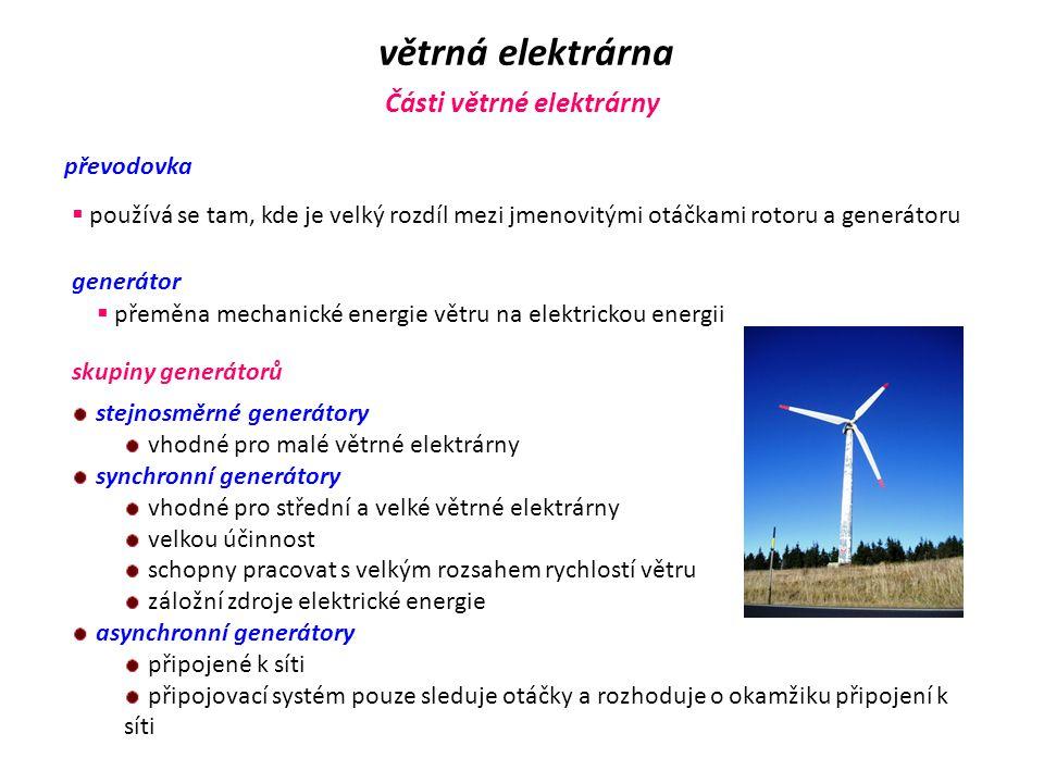 větrná elektrárna Části větrné elektrárny převodovka