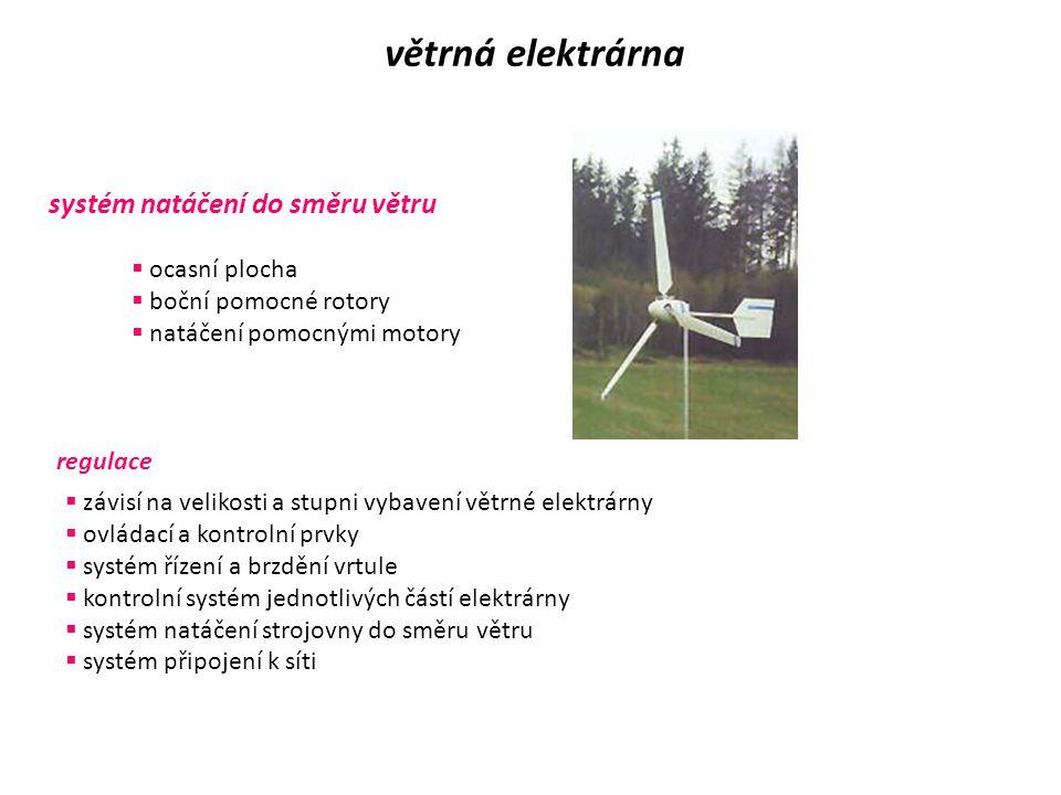větrná elektrárna systém natáčení do směru větru ocasní plocha