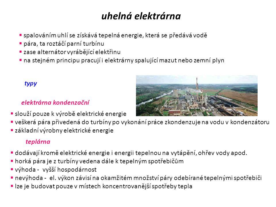 uhelná elektrárna spalováním uhlí se získává tepelná energie, která se předává vodě. pára, ta roztáčí parní turbínu.