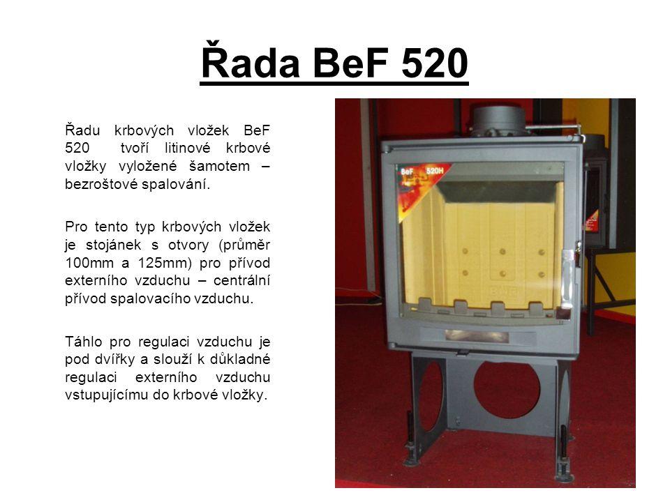Řada BeF 520 Řadu krbových vložek BeF 520 tvoří litinové krbové vložky vyložené šamotem – bezroštové spalování.