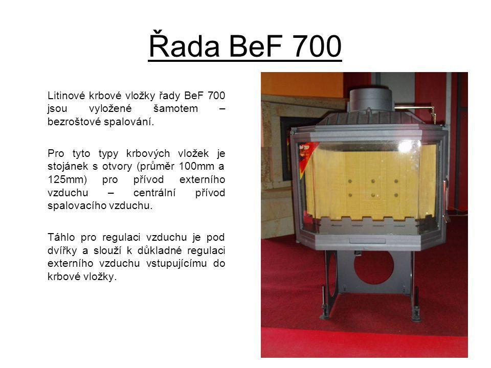 Řada BeF 700 Litinové krbové vložky řady BeF 700 jsou vyložené šamotem – bezroštové spalování.