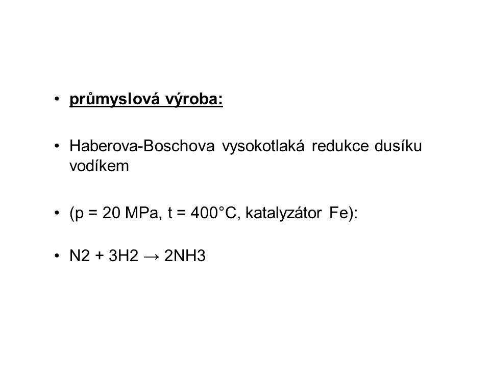 průmyslová výroba: Haberova-Boschova vysokotlaká redukce dusíku vodíkem. (p = 20 MPa, t = 400°C, katalyzátor Fe):