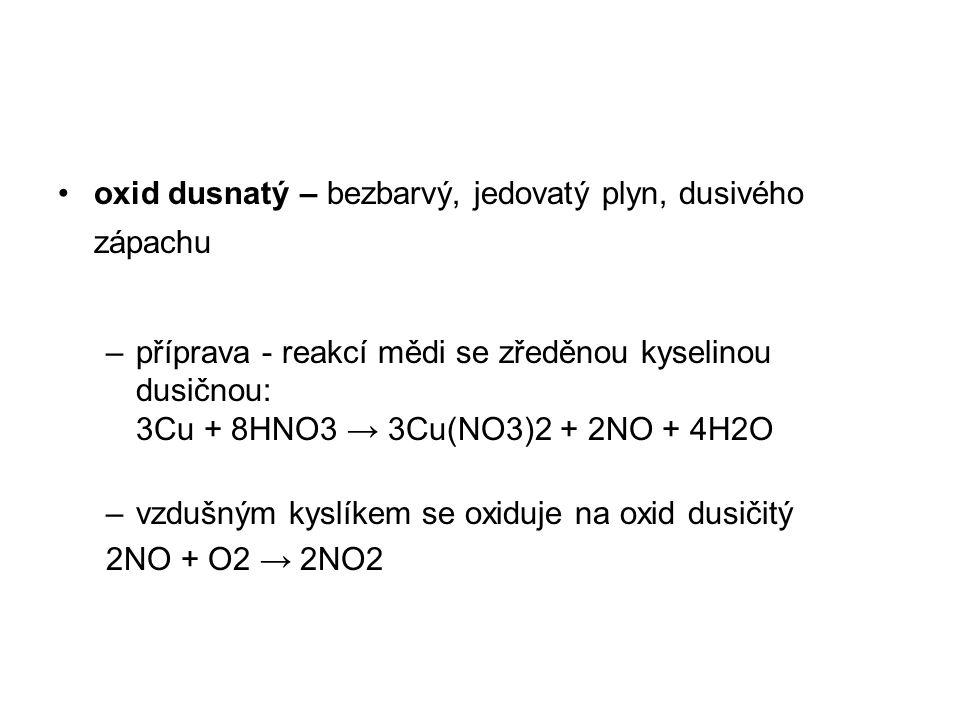 oxid dusnatý – bezbarvý, jedovatý plyn, dusivého zápachu