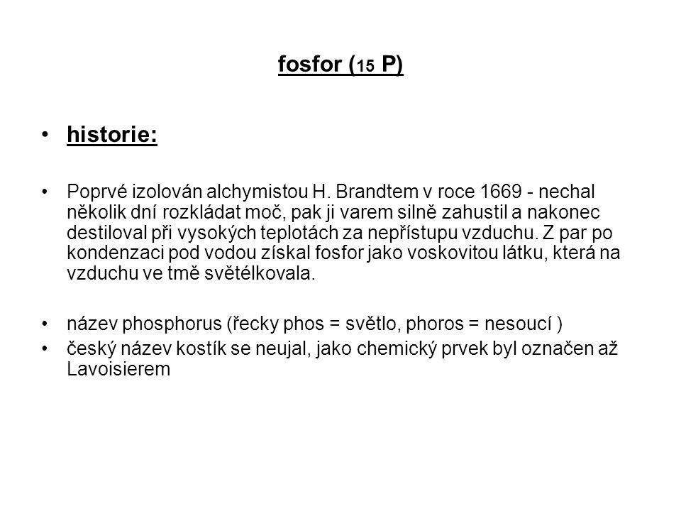 fosfor (15 P) historie: