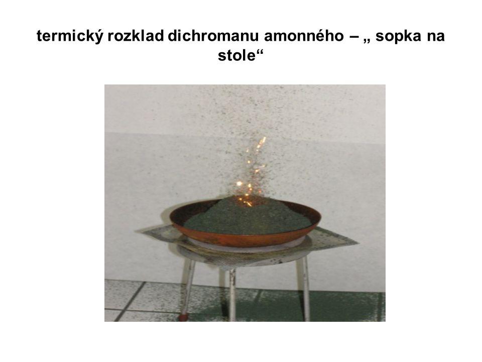 """termický rozklad dichromanu amonného – """" sopka na stole"""