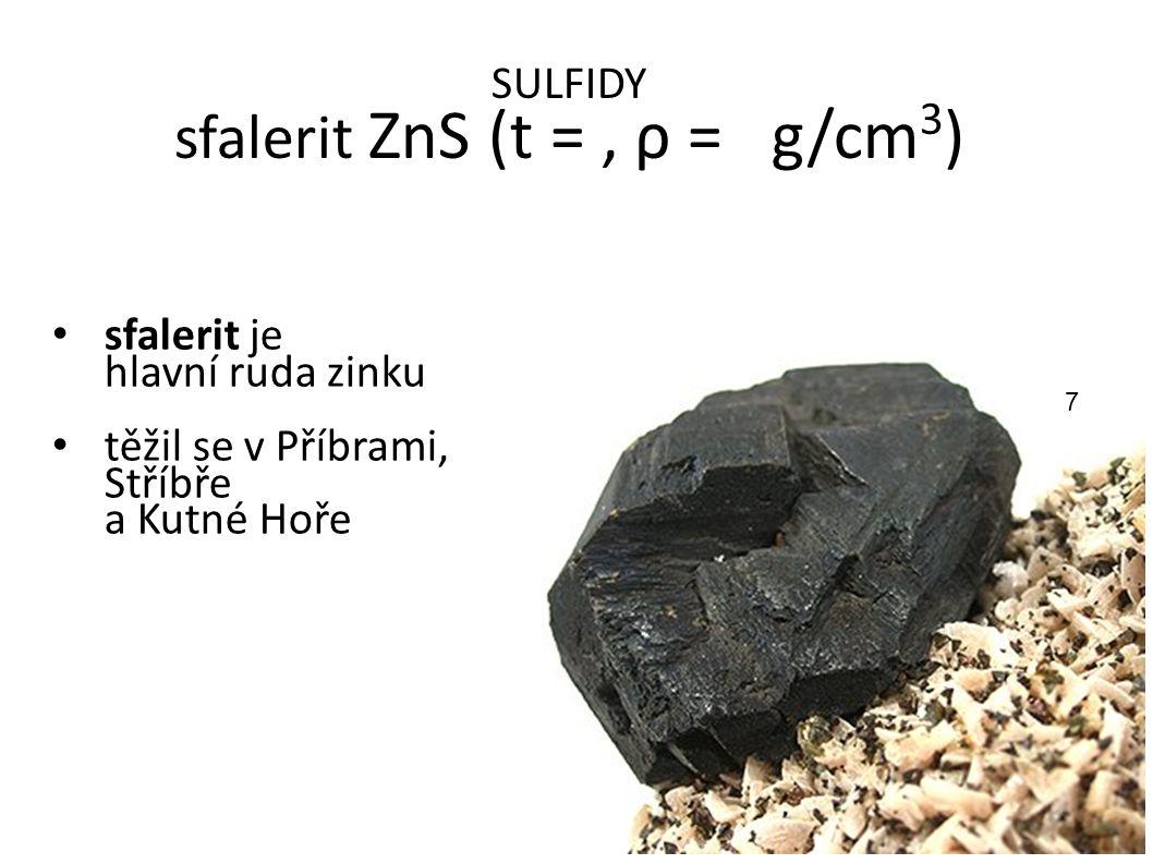 SULFIDY sfalerit ZnS (t = , ρ = g/cm3)