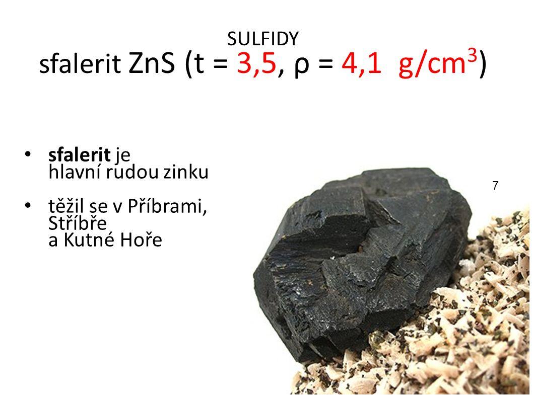 SULFIDY sfalerit ZnS (t = 3,5, ρ = 4,1 g/cm3)