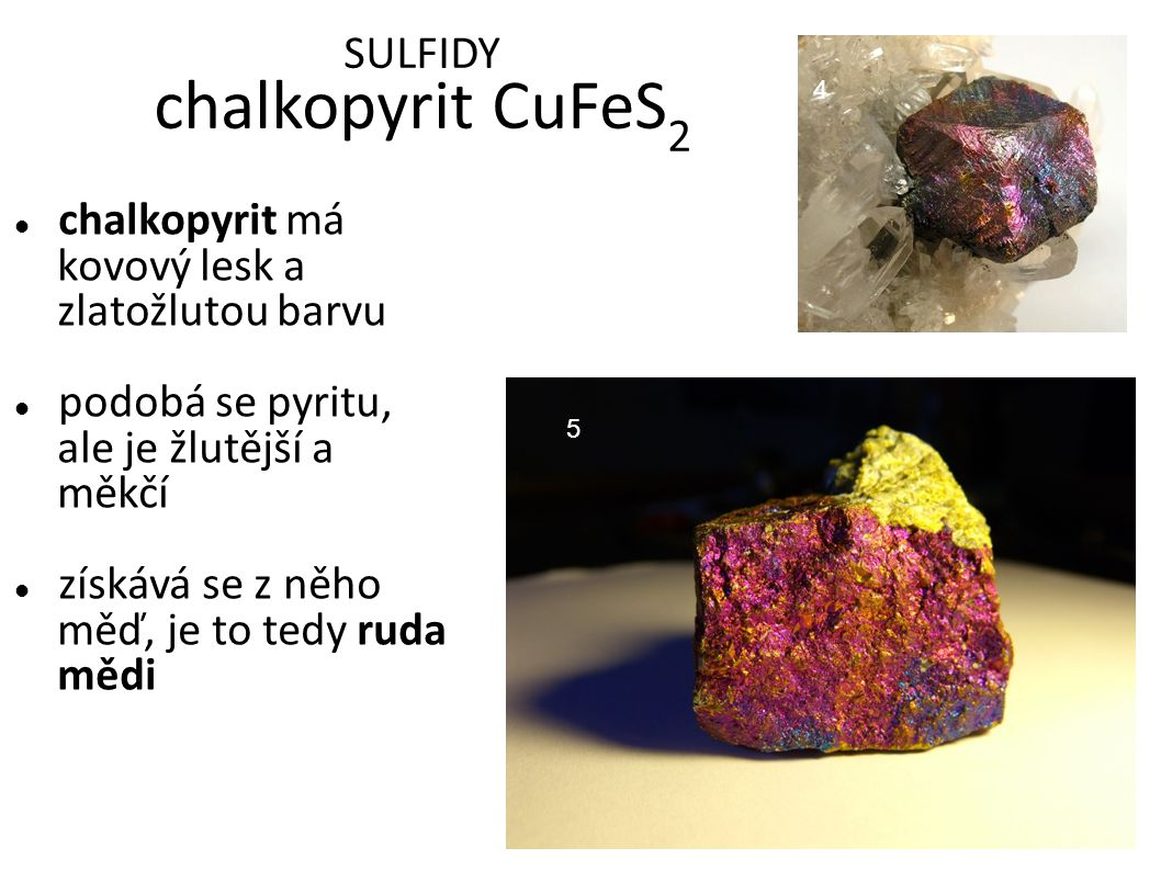 SULFIDY chalkopyrit CuFeS2