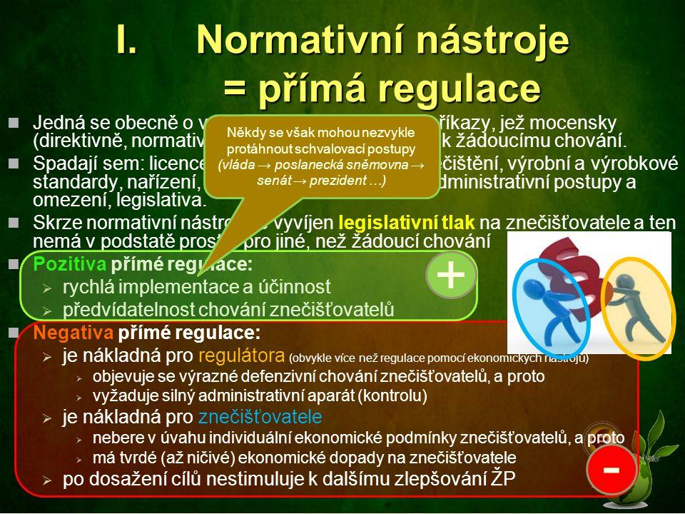 Normativní nástroje = přímá regulace