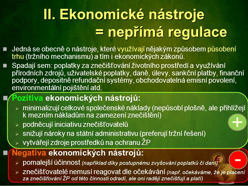 II. Ekonomické nástroje = nepřímá regulace