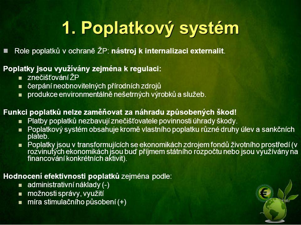 1. Poplatkový systém Role poplatků v ochraně ŽP: nástroj k internalizaci externalit. Poplatky jsou využívány zejména k regulaci: