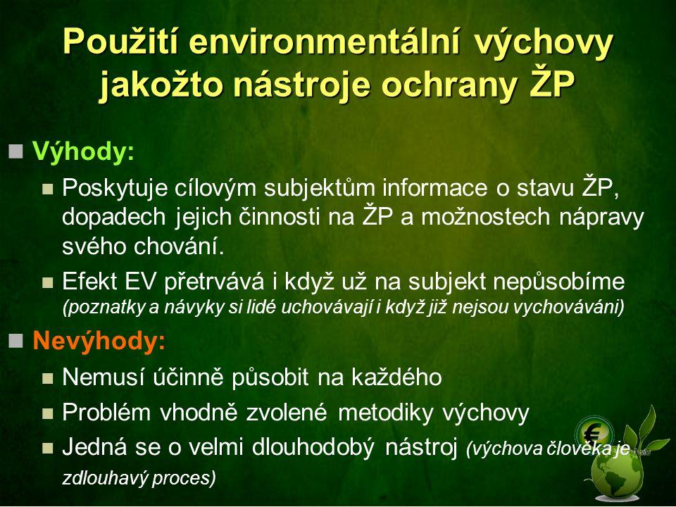 Použití environmentální výchovy jakožto nástroje ochrany ŽP