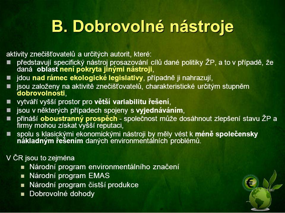 B. Dobrovolné nástroje Národní program environmentálního značení
