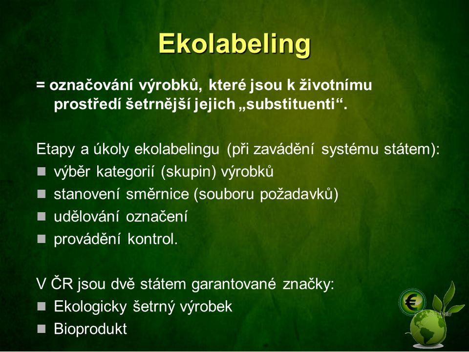 """Ekolabeling = označování výrobků, které jsou k životnímu prostředí šetrnější jejich """"substituenti ."""