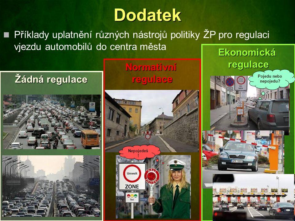 Dodatek Příklady uplatnění různých nástrojů politiky ŽP pro regulaci vjezdu automobilů do centra města.