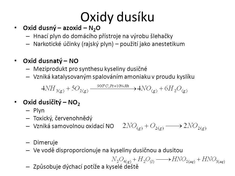 Oxidy dusíku Oxid dusný – azoxid – N2O Oxid dusnatý – NO