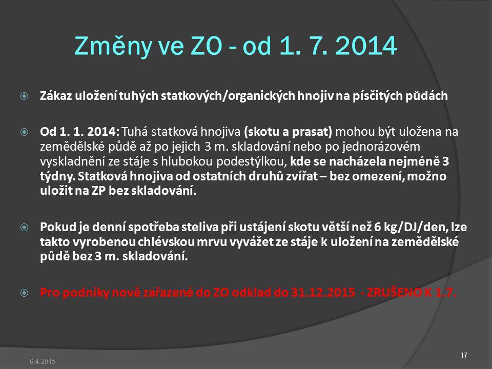 Změny ve ZO - od 1. 7. 2014 Zákaz uložení tuhých statkových/organických hnojiv na písčitých půdách.