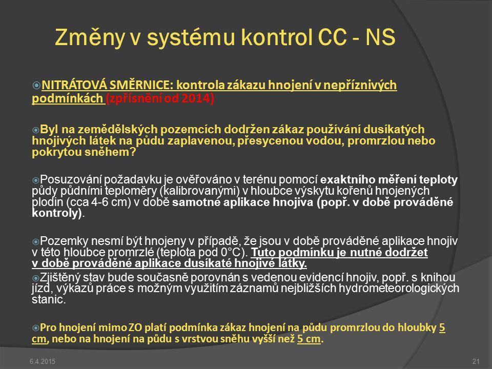 Změny v systému kontrol CC - NS