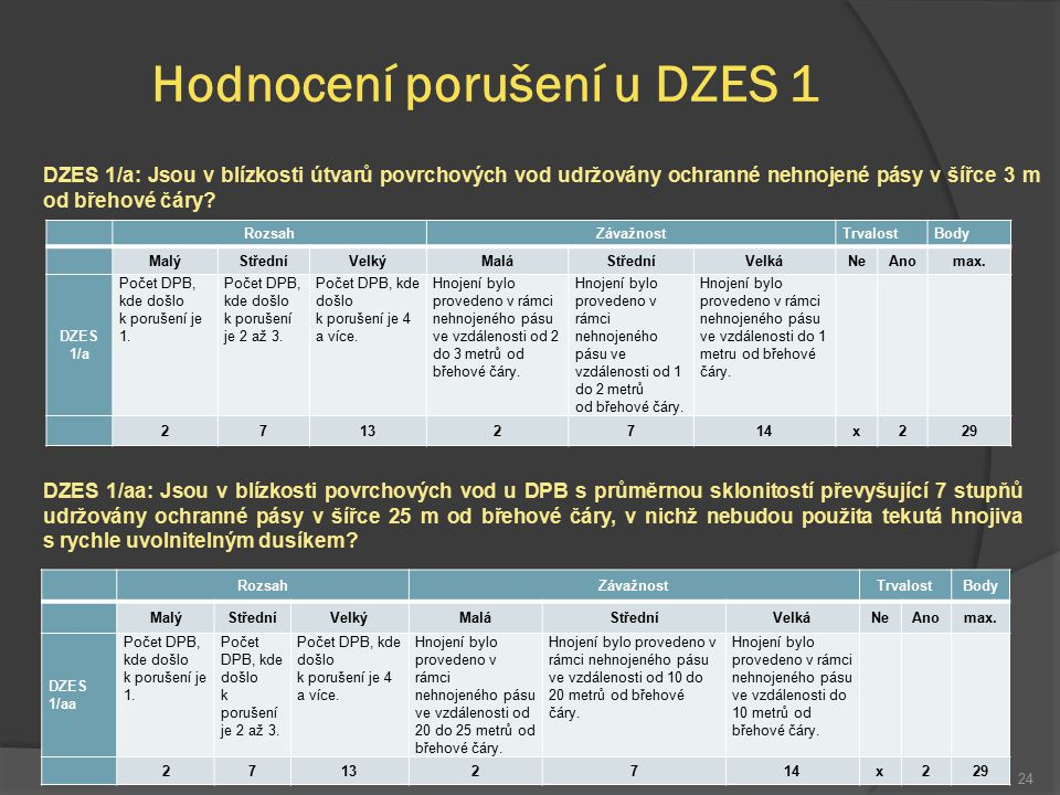 Hodnocení porušení u DZES 1