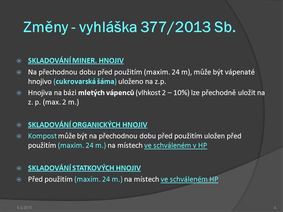 Změny - vyhláška 377/2013 Sb. SKLADOVÁNÍ MINER. HNOJIV