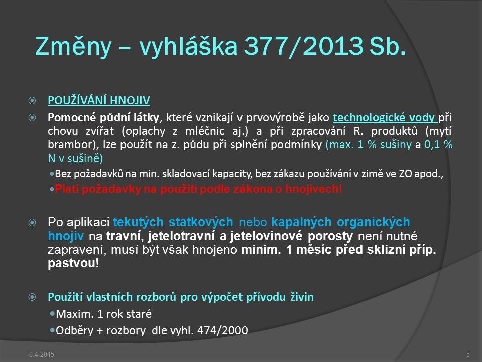 Změny – vyhláška 377/2013 Sb. POUŽÍVÁNÍ HNOJIV