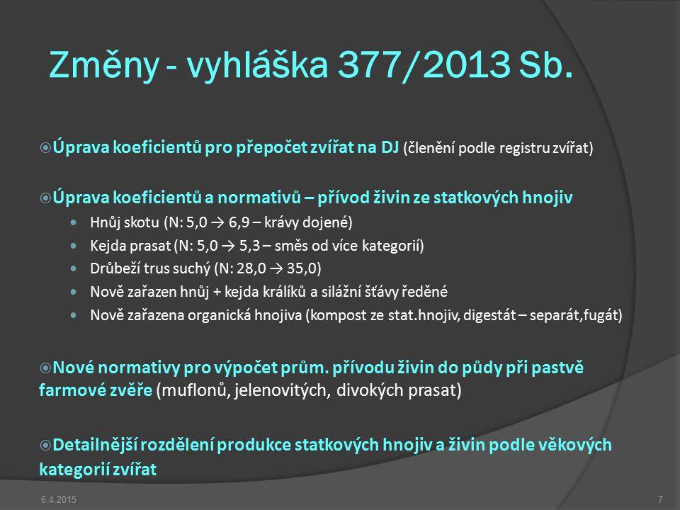 Změny - vyhláška 377/2013 Sb. Úprava koeficientů pro přepočet zvířat na DJ (členění podle registru zvířat)