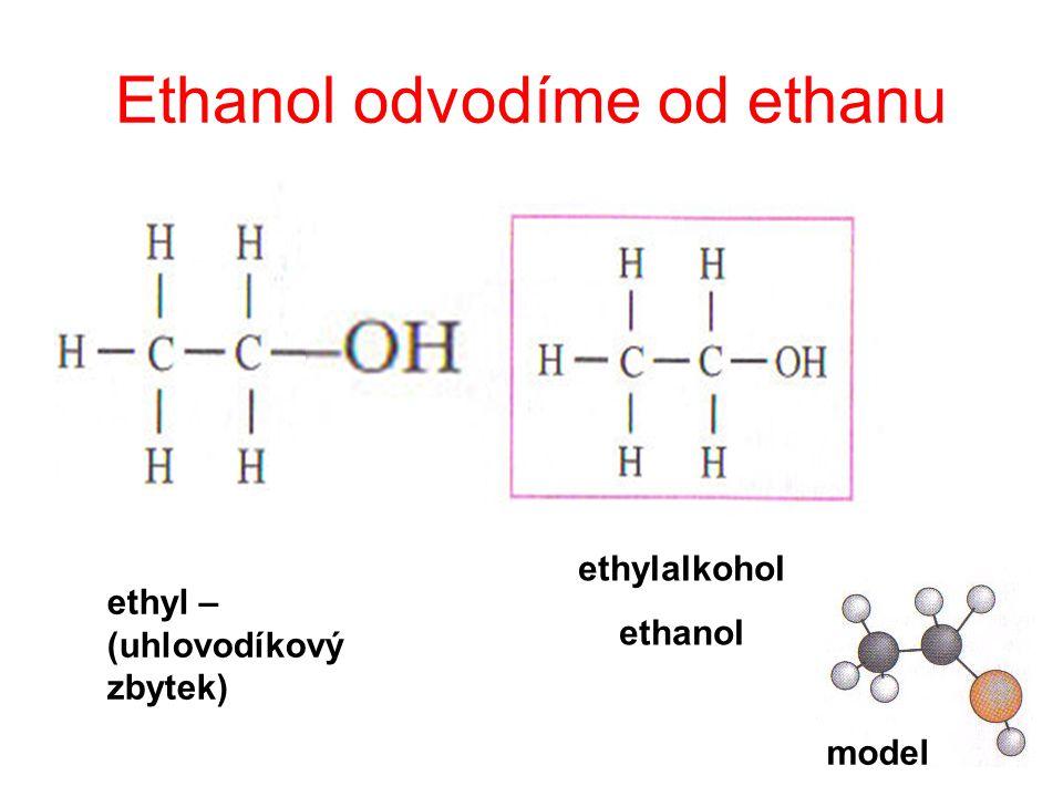 Ethanol odvodíme od ethanu