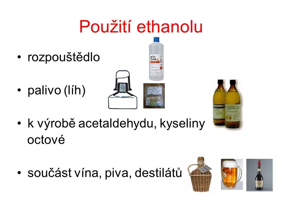 Použití ethanolu rozpouštědlo palivo (líh)