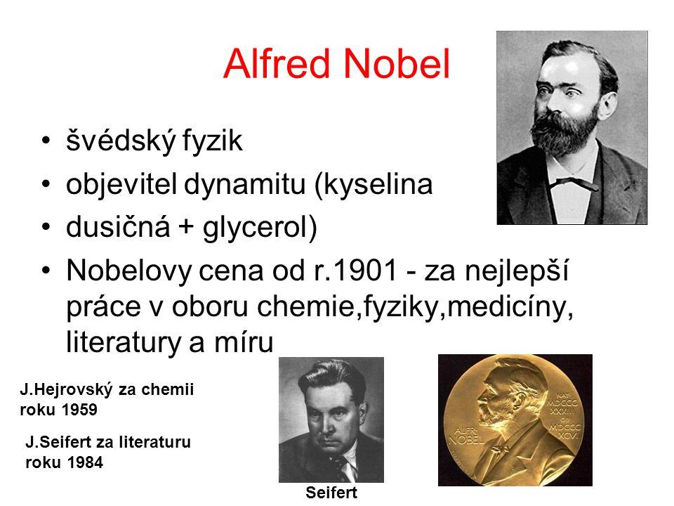 Alfred Nobel švédský fyzik objevitel dynamitu (kyselina
