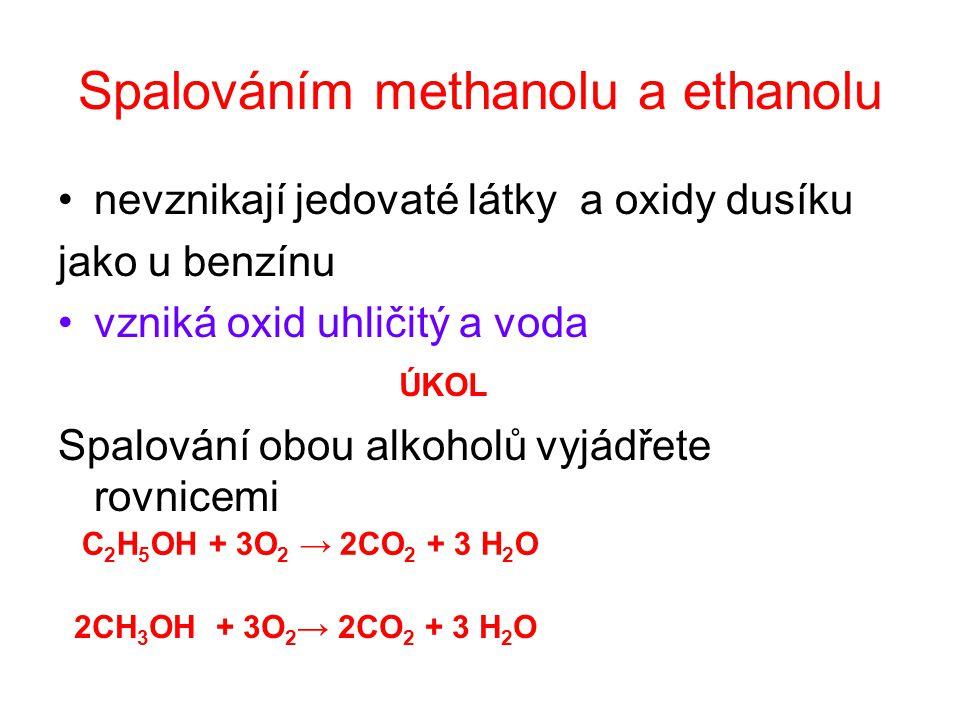 Spalováním methanolu a ethanolu