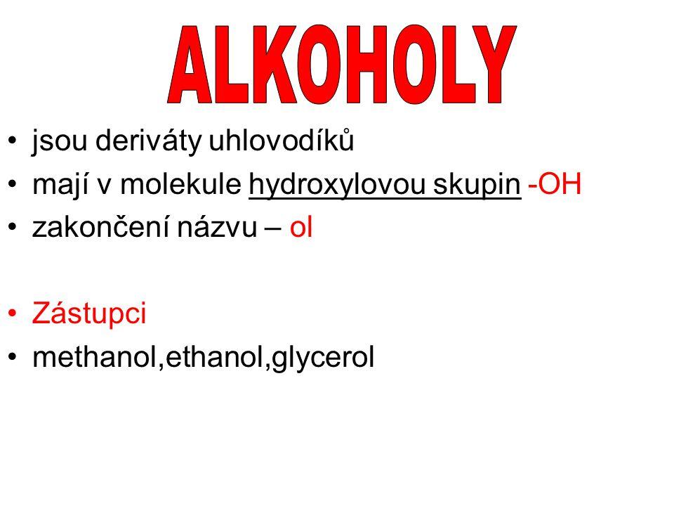 ALKOHOLY jsou deriváty uhlovodíků