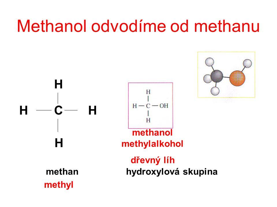 Methanol odvodíme od methanu