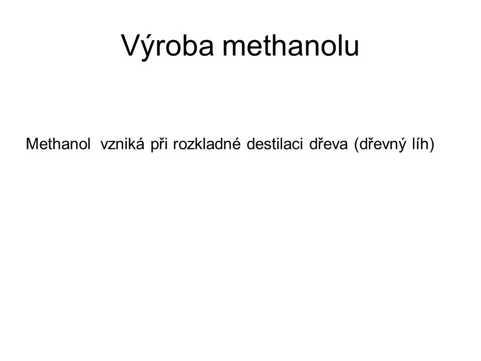 Výroba methanolu Methanol vzniká při rozkladné destilaci dřeva (dřevný líh)